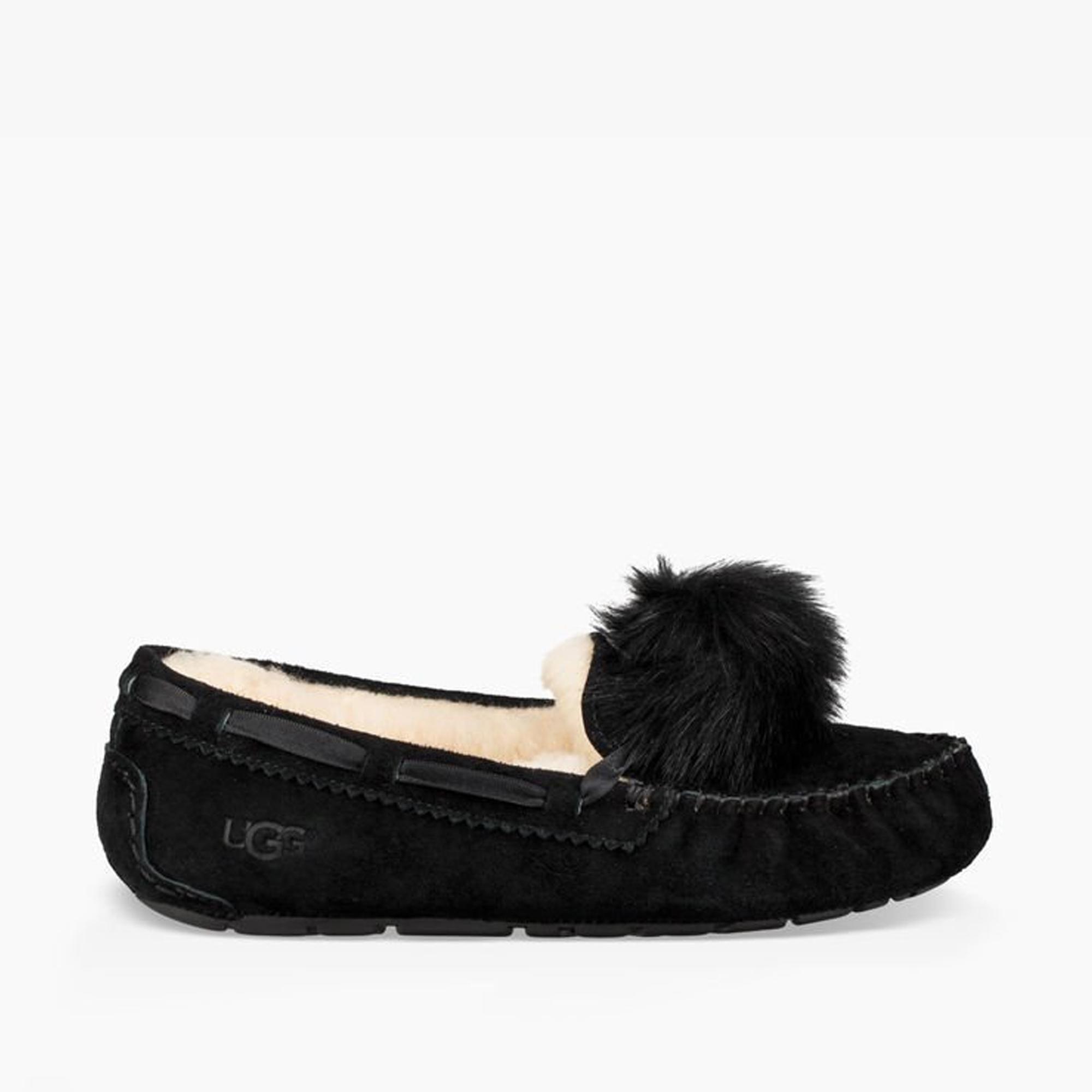 43e69fbc6cd UGG DAKOTA POM POM Ladies Moccasin Slippers Black