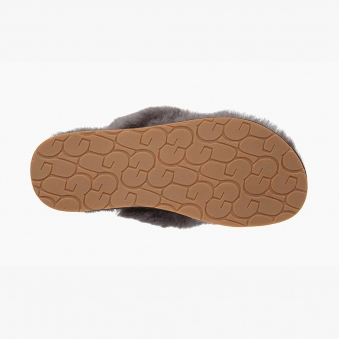 e8042daa982 UGG FLUFF FLIP FLOP III Ladies Toe Post Slippers Grey