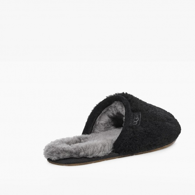 46a10e2e058 FLUFFETTE Ladies Wool Mule Slippers Black