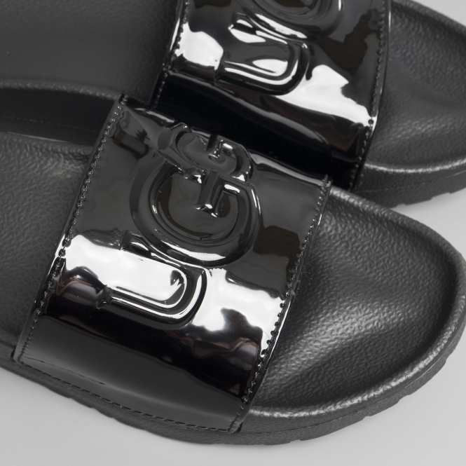 44be6399f57 ROYALE GRAPHIC METALLIC Ladies Slide Sandals Black