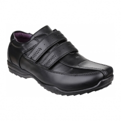 BOWIE Boys Touch Fasten School Shoes Black