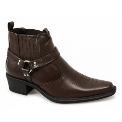 EASTWOOD Mens Harness Ankle Cowboy Boots Brown