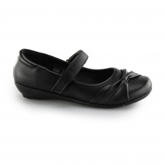 MARLIN Girls Touch Fasten Mary Jane Shoes Black