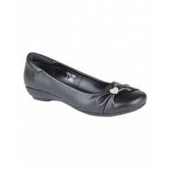 SISSI Ladies Sash Vamp Flat Pumps Shoes Black