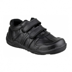 STEVE Boys Touch Fasten School Shoes Black