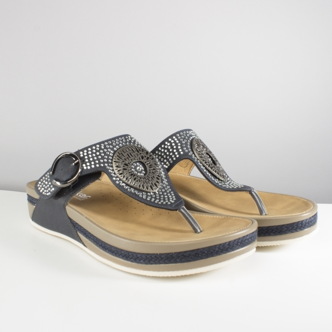 2a8e07270b7c Rieker V1460-14 Ladies Embellished Thong Sandals Pacific