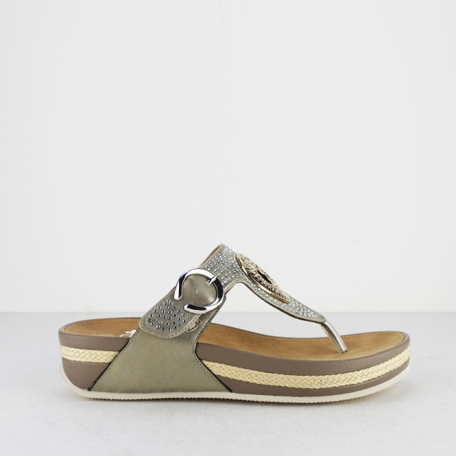 3923d21d0 Rieker V1460-62 Ladies Embellished Thong Sandals Clay