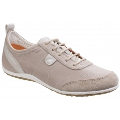 VEGA Ladies Leather Lace Up Casual Trainers Light Taupe