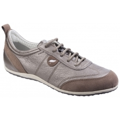VEGA Ladies Leather Lace Up Smart Trainers Taupe