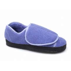 VELVIT Ladies Touch Fasten Comfy Full Slippers Blue