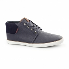 VERTIGO Mens PU Mid-Top Trainers Navy Blazer