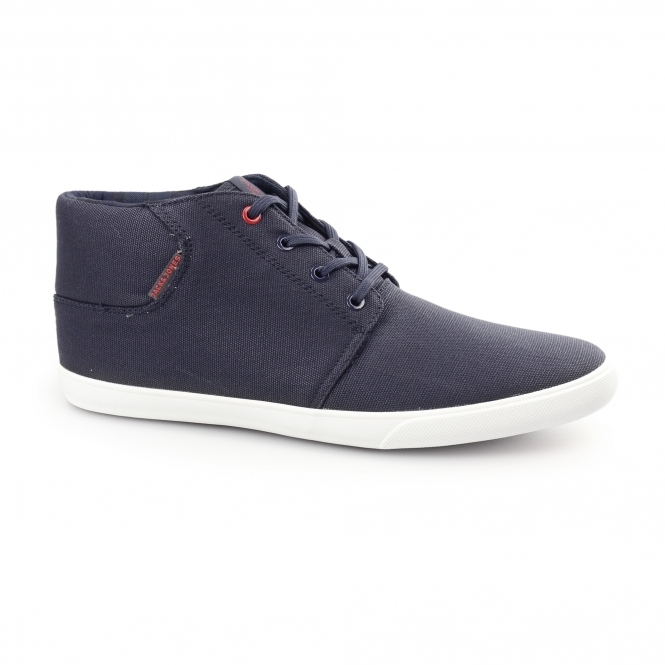 Jack & Jones VERTIGO Mens Waxed Canvas Mid-Top Trainers Navy Blazer