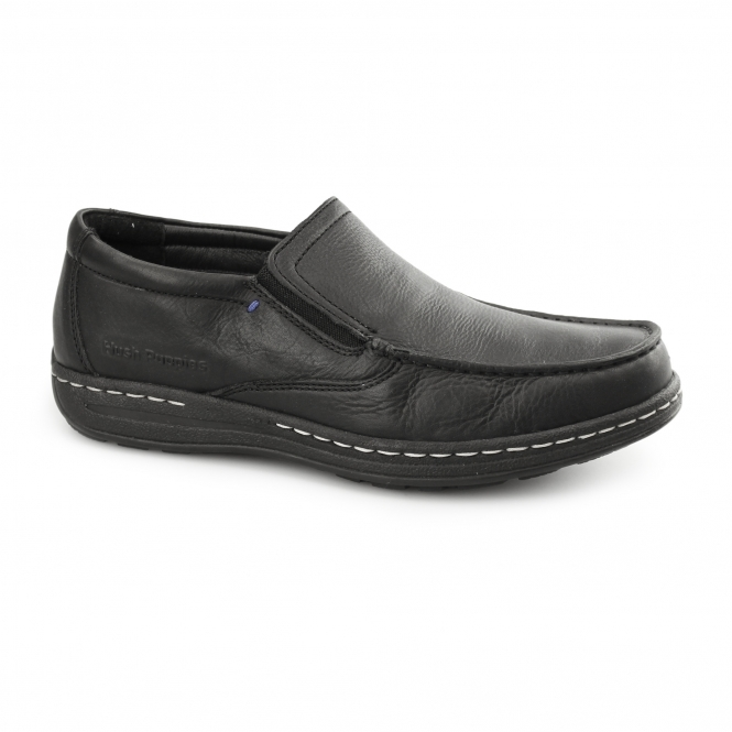Hush Puppies VICAR VICTORY Mens Leather Moccasin Loafers Black