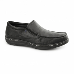 VICAR VICTORY Mens Leather Moccasin Loafers Black