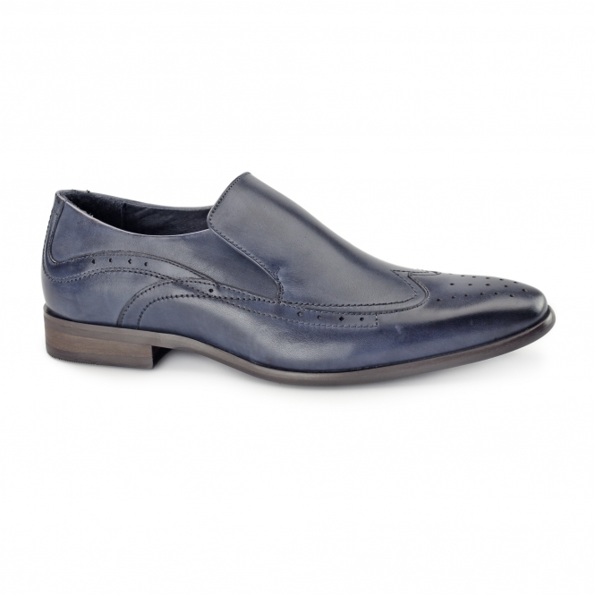 Azor VICENZA Mens Leather Slip On Brogues Blue