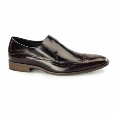 VICENZA Mens Leather Slip On Brogues Rubbed Black/Red