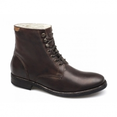 VICTORIA Mens Waxy Leather Derby Boots Brown
