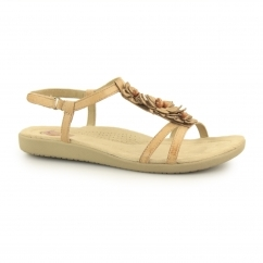 VICTORVILLE Ladies Leather Touch Fasten Sandals Biscuit