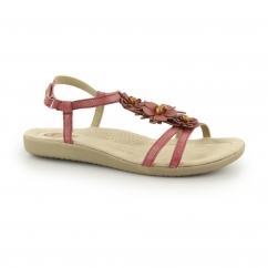 VICTORVILLE Ladies Leather Touch Fasten Sandals Chianti