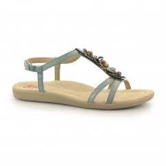 VICTORVILLE Ladies Leather Touch Fasten Sandals Teal