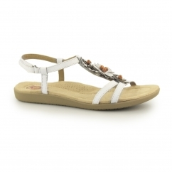 VICTORVILLE Ladies Leather Touch Fasten Sandals White