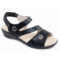 VIENNA Ladies Velcro Sandals Black Reptile