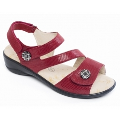 VIENNA Ladies Velcro Sandals Red Reptile