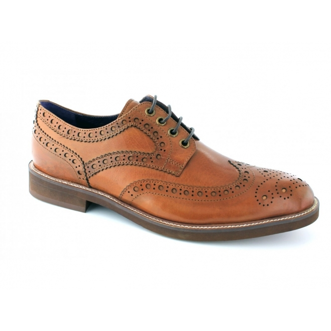 3d92f5bbbff Gucinari Mens Leather Brogue Formal Casual Derby Shoes Tan
