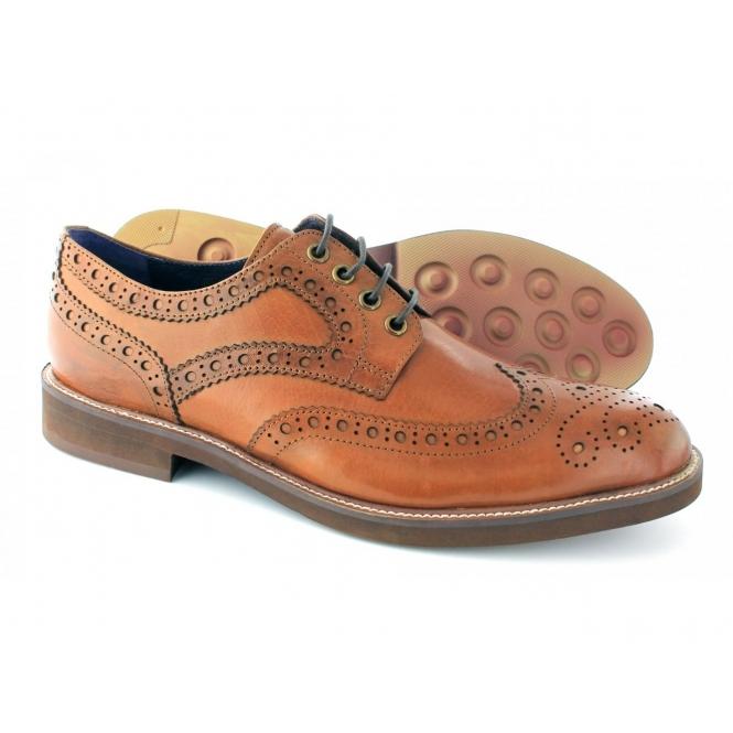 918abfa6158c Gucinari VINCENTI Mens Lace Up Leather Brogue Derby Shoes Tan
