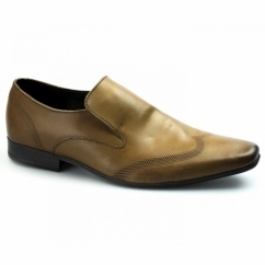 VINNIE Mens Leather Slip On Loafers Tan