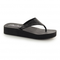 VINYASA - NAM ON Ladies Wedge Gemstone Flip Flops Black