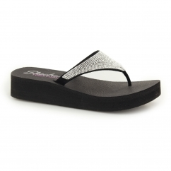 VINYASA - NAM ON Ladies Wedge Gemstone Flip Flops Black/Silver
