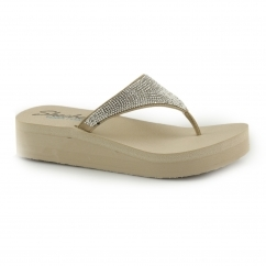 VINYASA - NAM ON Ladies Wedge Gemstone Flip Flops Taupe