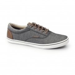 VISION Mens Canvas Chambray Trainers Anthracite