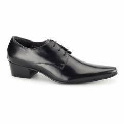 VITOR Mens Cuban Heel Pointed Leather Shoes Black