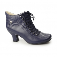 VIVIANNA Ladies Leather Patterned Lace-Up Zip Boots Navy
