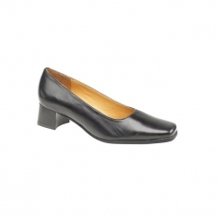 WALFORD Ladies Block Leather Court Shoes Black