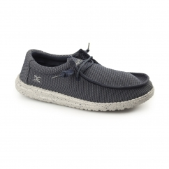 WALLY SOX Mens Relaxed Fit Shoes Navy