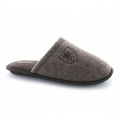 WARREN Mens Warm Padded Mule Slippers Brown