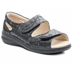 WAVE Ladies Patent Leather Extra EE Wide Velcro Sandals Black