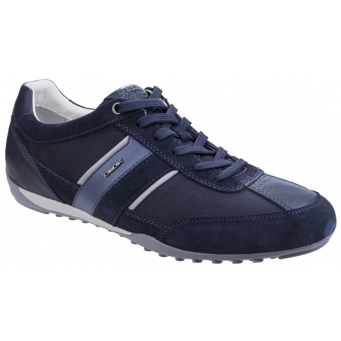 GEOX WELLS Mens Suede Leather Lace Up Comfort Trainers Navy