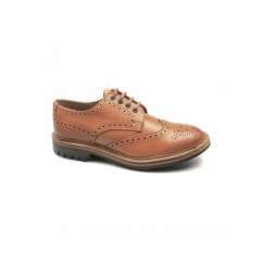 WESSEX Mens Leather Cleated Brogue Shoes Tan