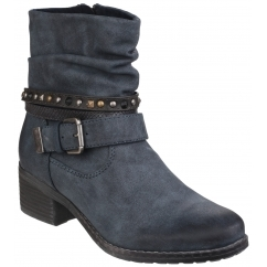 WEST Ladies Side Zip Slouch Boots Navy
