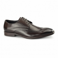 WHITEHALL Mens Leather Derby Brogue Shoes Brown