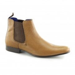 WICK Mens Leather Chelsea Boots Tan