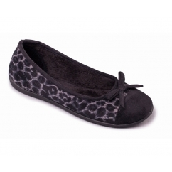 WILD Ladies Textile Wide Fit Ballerina Slippers Black