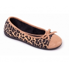 WILD Ladies Textile Wide Fit Ballerina Slippers Camel/Fudge
