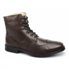 WILLERSEY Mens Padded Brogue Derby Boots Brown