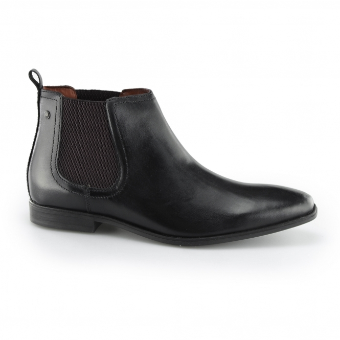 Base London WILLIAM Mens Leather Chelsea Boots Black
