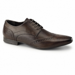 WILLIAM Mens Leather Pointed Brogues Brown